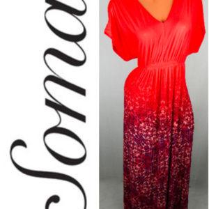 SOMA Maxi DRESS XL 14 16 Coral Orange BOHO Stretch